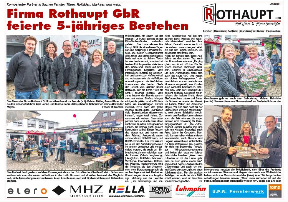5 Jahre Rothaupt GbR Wolfenbüttel Jubiläum